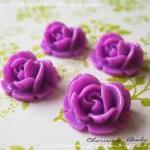 6 Resin Roses Cabochons Flower Acce..