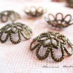 6 Brass Bead Caps, Flower, Antique ..