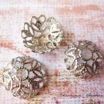 6 Silver Brass Bead Cap, Flower, 12..