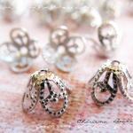 6 Brass Bead Caps, Flower, 8.5x6mm,..