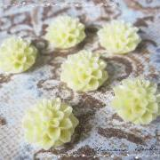 12 Resin Chrysanthemum Flower Cabochons Accessory 15x8mm
