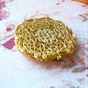6 Brass Vintage Filigree Connectors Beads, Lead Free, 64.5mm