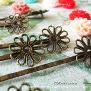 6 Filigree Bobby Pins Hair ornaments Antique Bronze, Flower 2x59x2mm