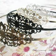 2 Vintage Filigree Antique Brass Blank Metal Headbands 35x78mm ---you choose the color and how many---