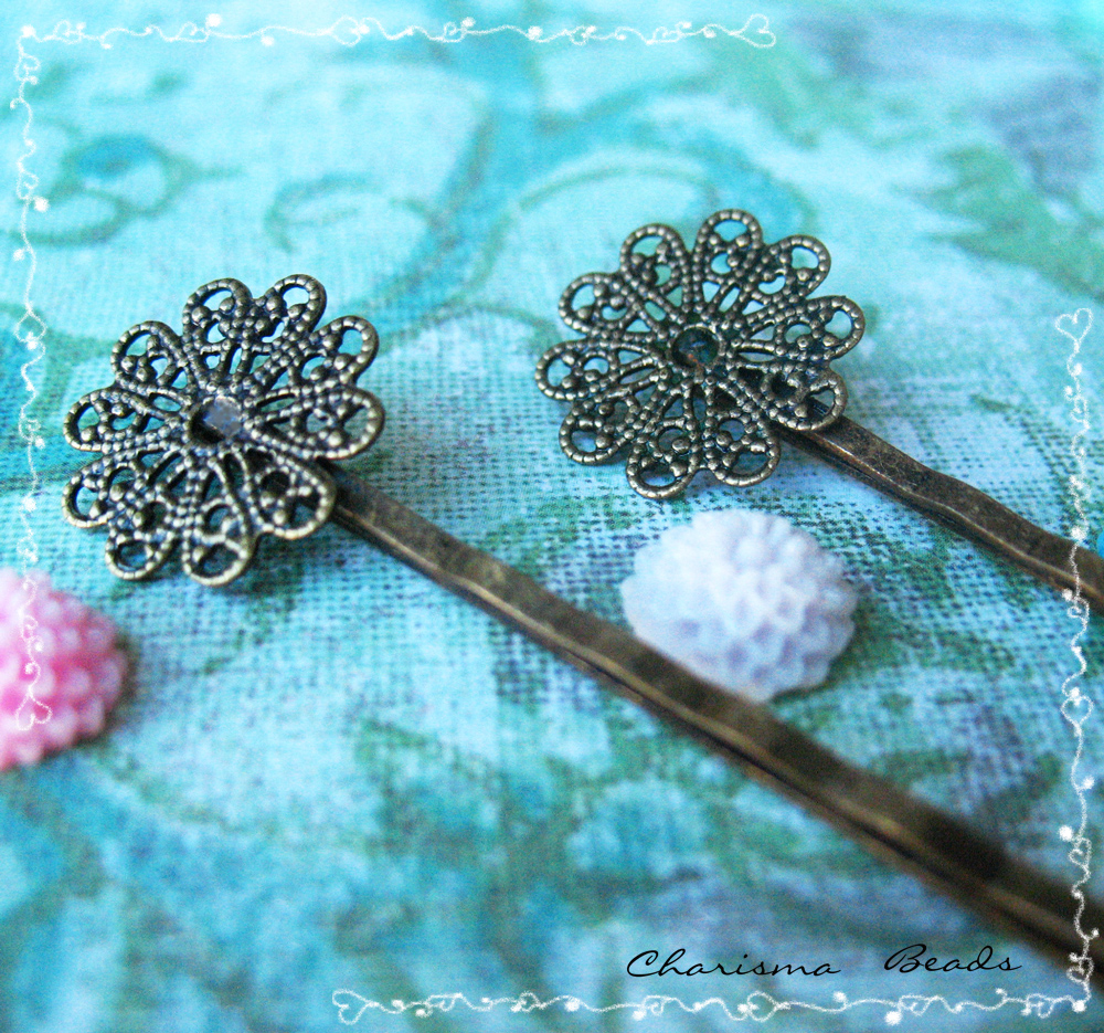 6 Filigree Bobby Pins Hair ornaments Antique Bronze, Round, 16x54mm, Hole: 1mm