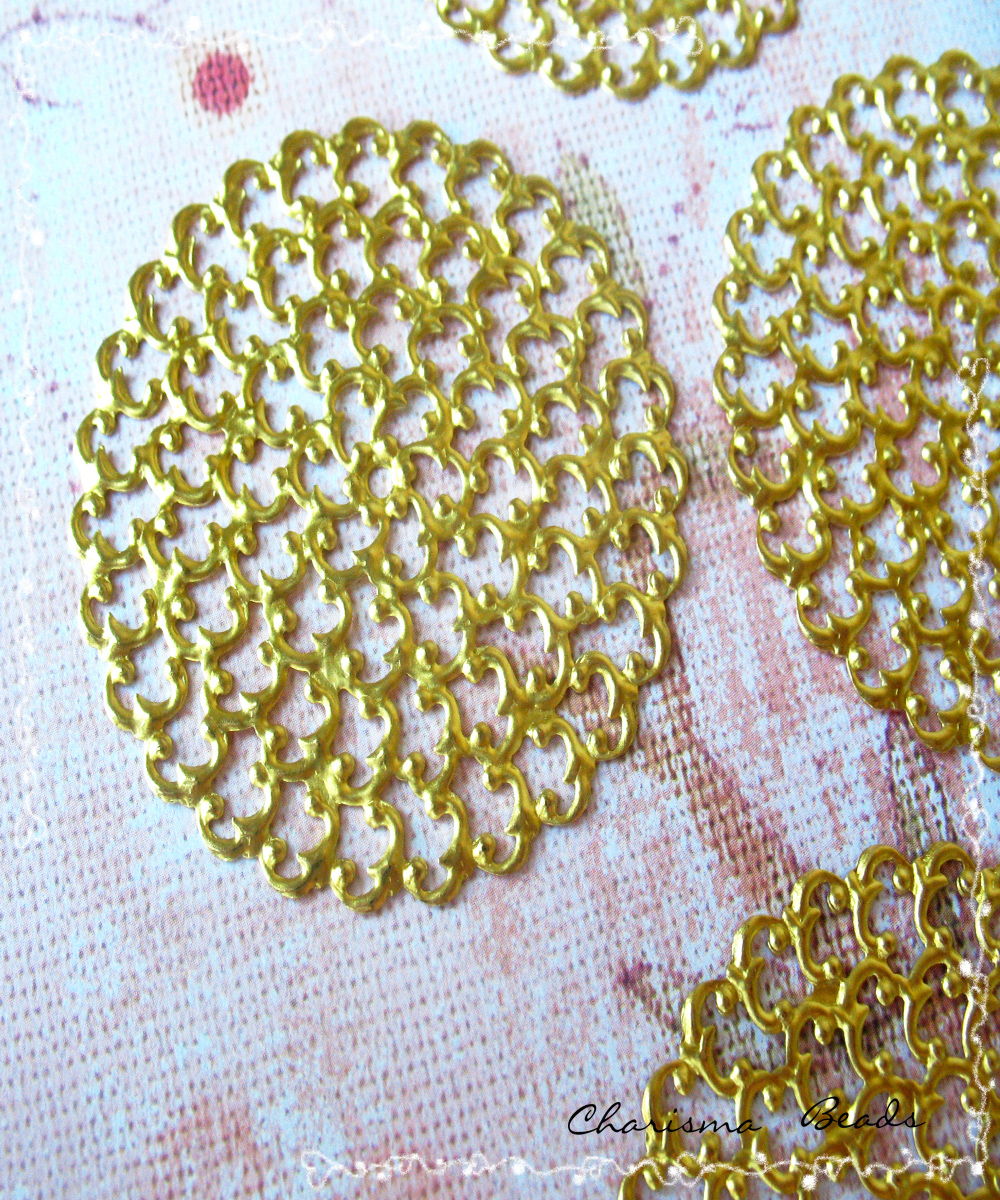 2 Brass Vintage Filigree Connectors Beads, Lead Free, Round, 48mm, Hole: 2mm