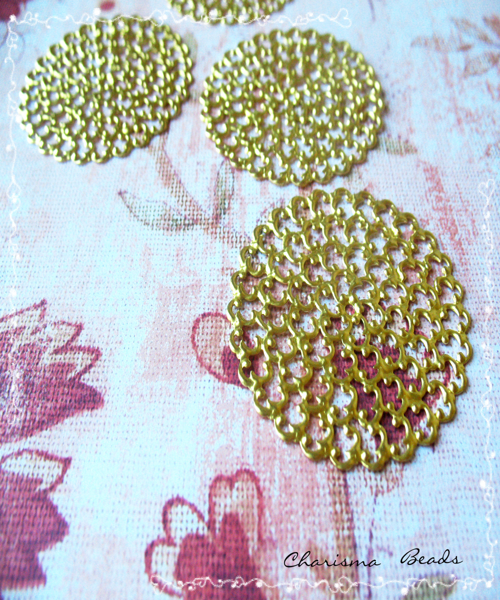 4 Brass Vintage Filigree Connectors Beads, Lead Free, Round, 48mm, Hole: 2mm