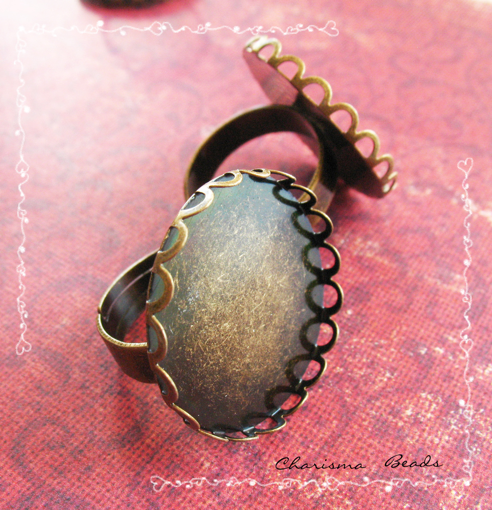 6 Adjustable Brass Ring Shanks, Tray Round, 26mm, Tray inner 26mm, Inner Diameter Ring: 17.5mm