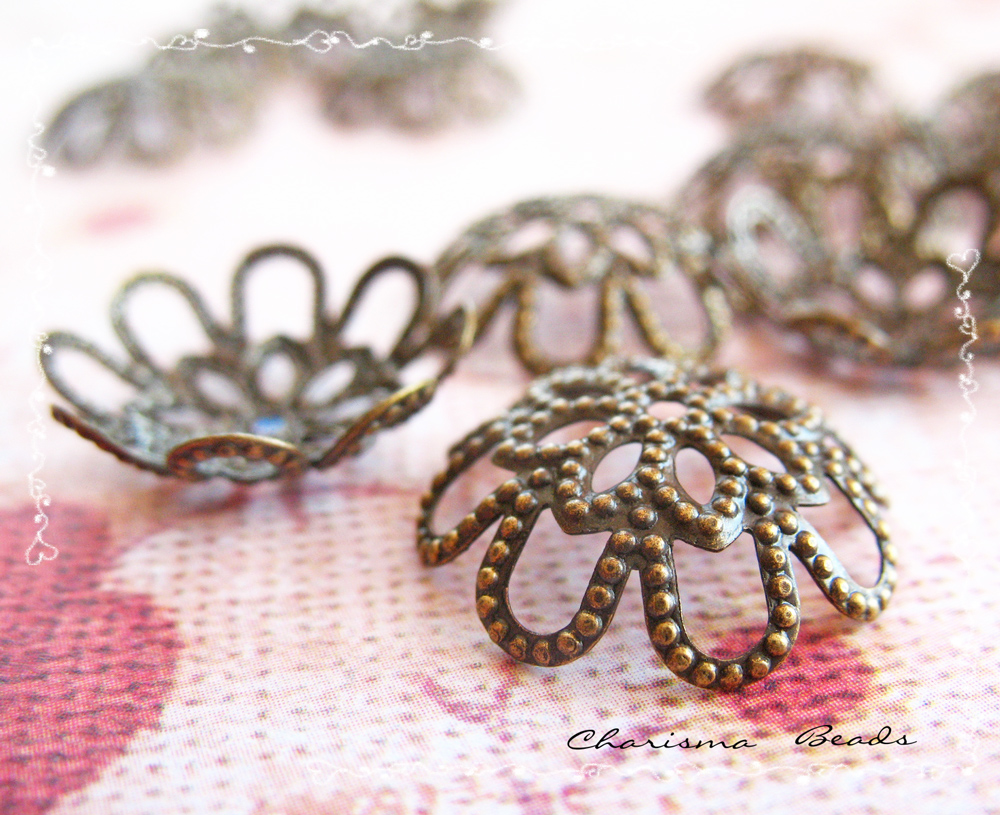 6 Brass Bead Caps, Flower, Antique Bronze 17x5mm, Hole: 1mm Lead Free