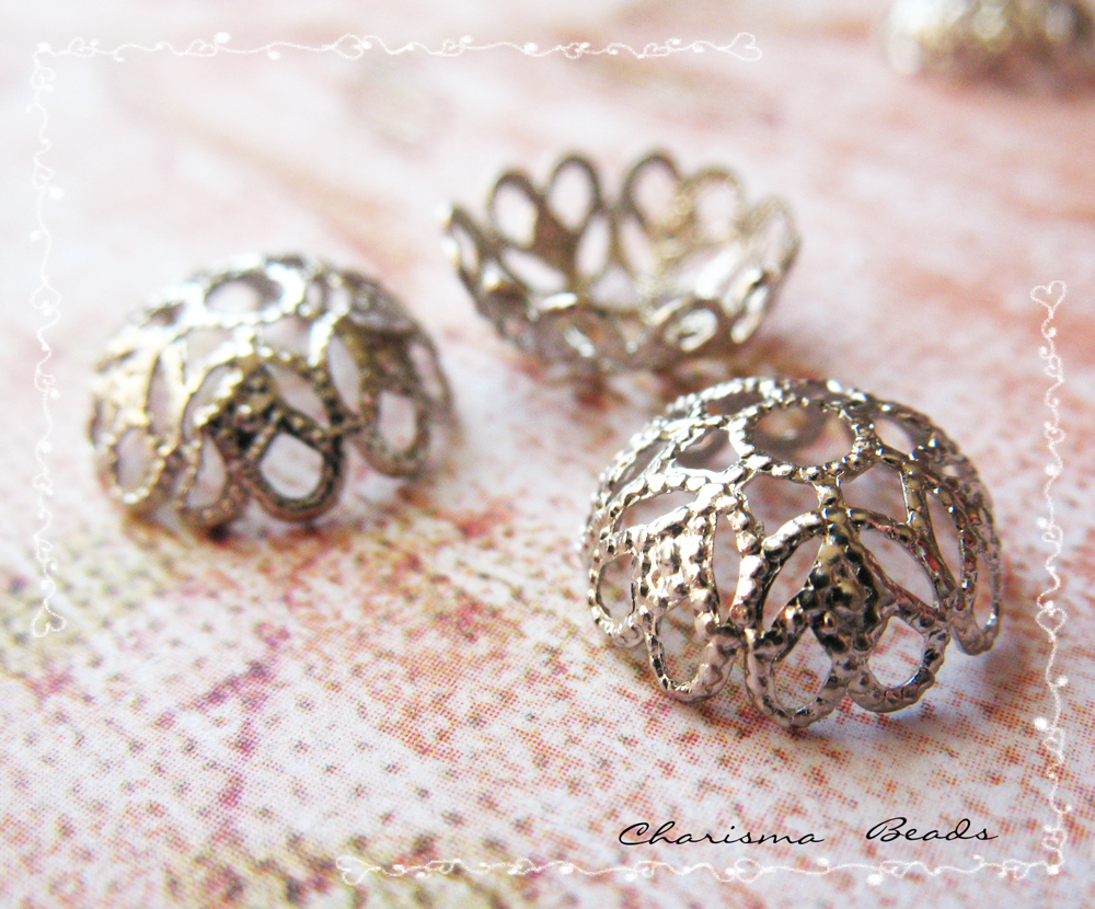 6 Silver Brass Bead Cap, Flower, 12mm in diameter, Hole: 2.3mm