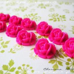 6 Resin Roses Cabochons Flower Accessory 18x17x8mm